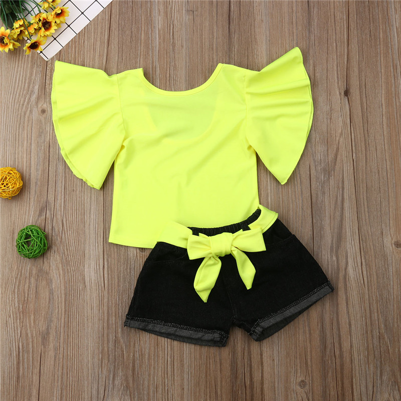 Fashion Kids Baby Girl Outfits Summer Ruffle Pagoda Sleeve Fluorescent Color Tops+Denim Shorts With Belt Girl Clothes Sets 1-6Y