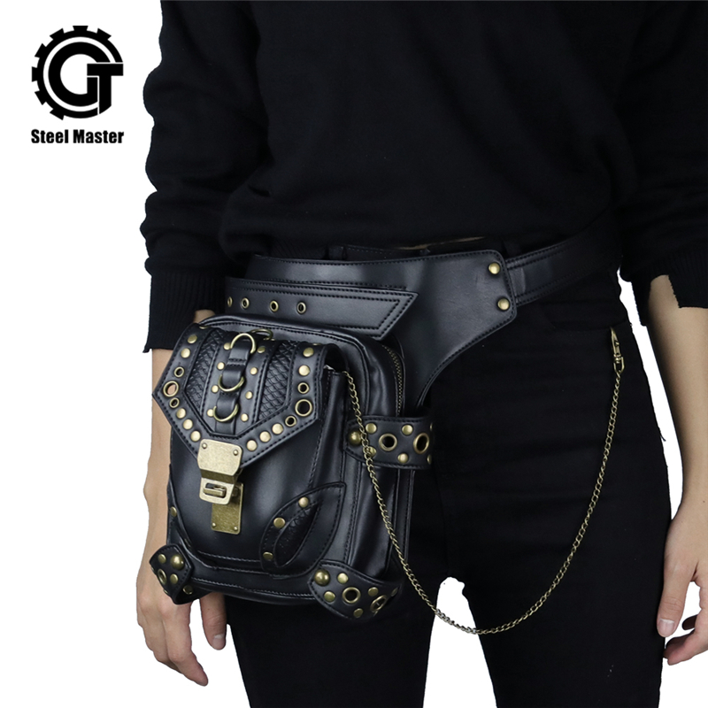 Steampunk Waist Bag Exclusive Retro Rock Gothic Bag Packs Shoulder Bag Vintage Men Women Leather Leg