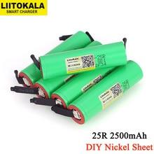 Liitokala 3.7v 18650 2500mah bateria inr1865025r 3.6v descarga 20a bateria de energia dedicada + folha de níquel diy