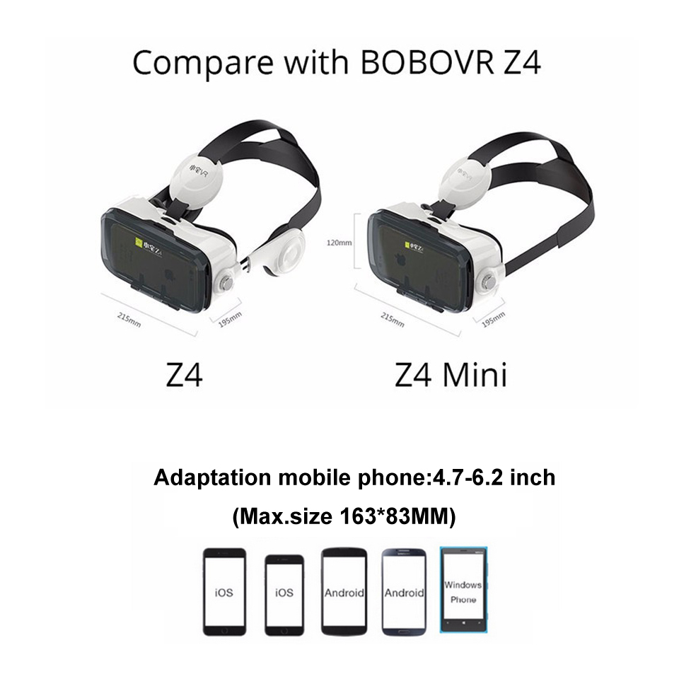 A6 BOBOVR Z4 mini VR 3d glasses Virtual Reality goggles Google cardboard bobo vr z4 headset Box 2.0 for 4.7-6.0 inch smartphones