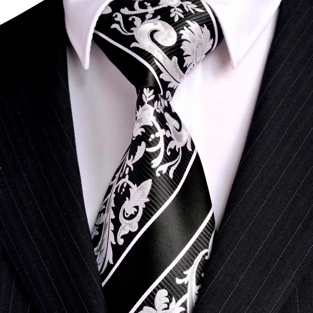 Juodosios baltos juostelės gėlių vyrų kaklaraiščių - Drabužių priedai - Nuotrauka 4