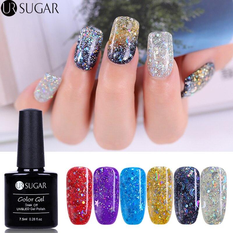 Hologram Gel Nail Polish: UR SUGAR Holographic Glitter Gel Nail Polish Star Moon