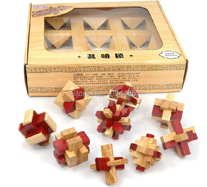 9PCS/Set Traditional Wooden Interlocking Burr Puzzle IQ Test Brain Teaser Puzzles Classic Kongming Locks for Adults and Children