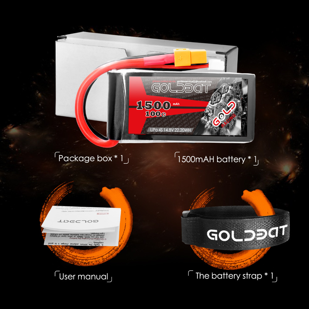 Image 3 - 2units GOLDBAT 1500mAh 4S Battery lipo for Drones 14.8V Lipo Battery 4s for fpv 100C lipo with XT60 Plug for Airplane FPV Racing-in Parts & Accessories from Toys & Hobbies