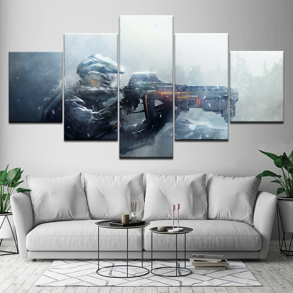 Canvas Painting Gun Gaming 5 Pieces Wall Art Painting Modular Wallpapers Poster Print For Living Room Home Decor