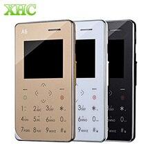 AIEK A6 Карты Мобильного Телефона 8 ГБ GSM 2 Г, 6.8 мм Ультра Тонкий Карманный Мини Тонкие Карты Телефон QQ Шагомер MP3 FM Одной Сим-Карты телефон