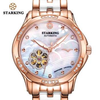 STARKING 34mm Automatic Watch Rose Gold Steel Case Vogue Dress Watches Skeleton Transparent Watch Women Mechanical Wristwatches 2