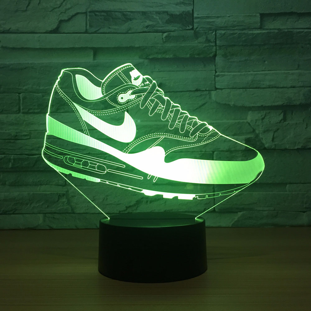 Creative Usb 3D Led Touch Switch Shoes Shape Atmosphere Night Light For Sports Fans Bedroom Movement Lighting Fixture Desk Lamp image