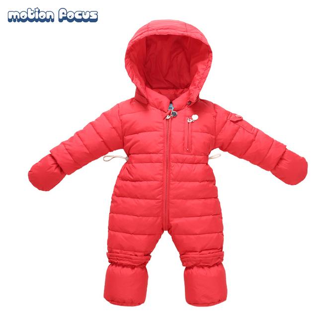 De alta Calidad Mamelucos Del Bebé de Invierno Gruesa Abajo 0-9 M Recién Nacido Niños Niñas Traje traje para la Nieve Caliente Niños Del Mono de Los Niños prendas de vestir exteriores