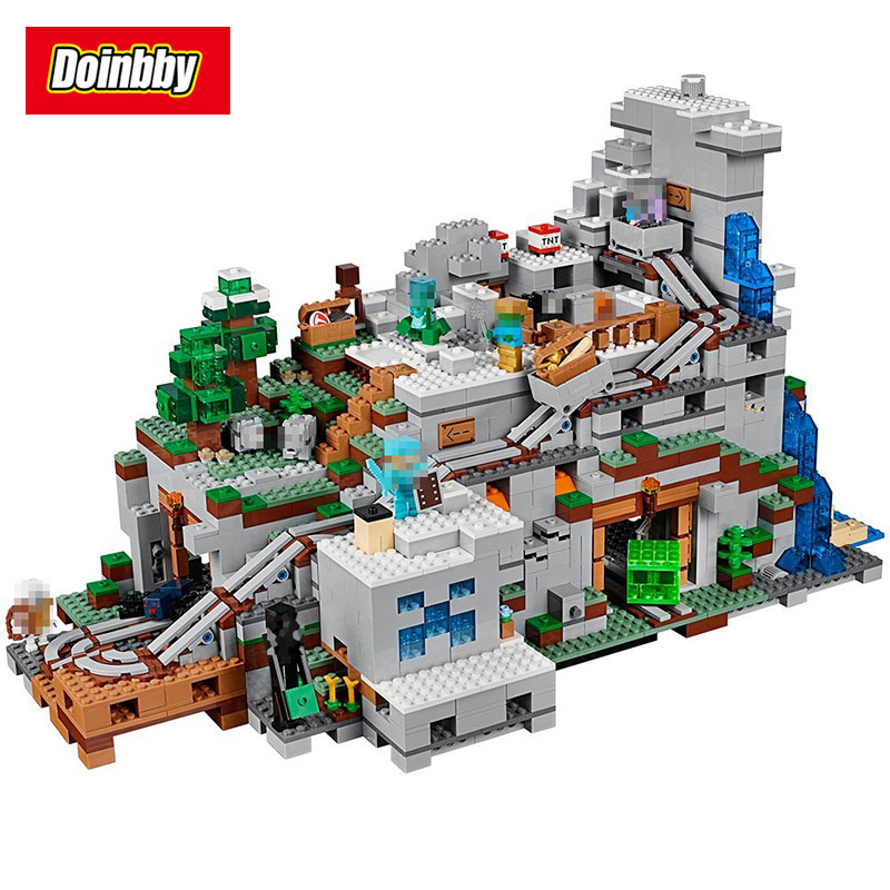 Lepin 18032 Model Building Kit Blocks Bricks Miniecraft The Mountain Cave My worlds 2932Pcs Compatible with 21137 dhl lepin 18032 2932 pcs the mountain cave my worlds model building kit blocks bricks children toys clone21137 in stock