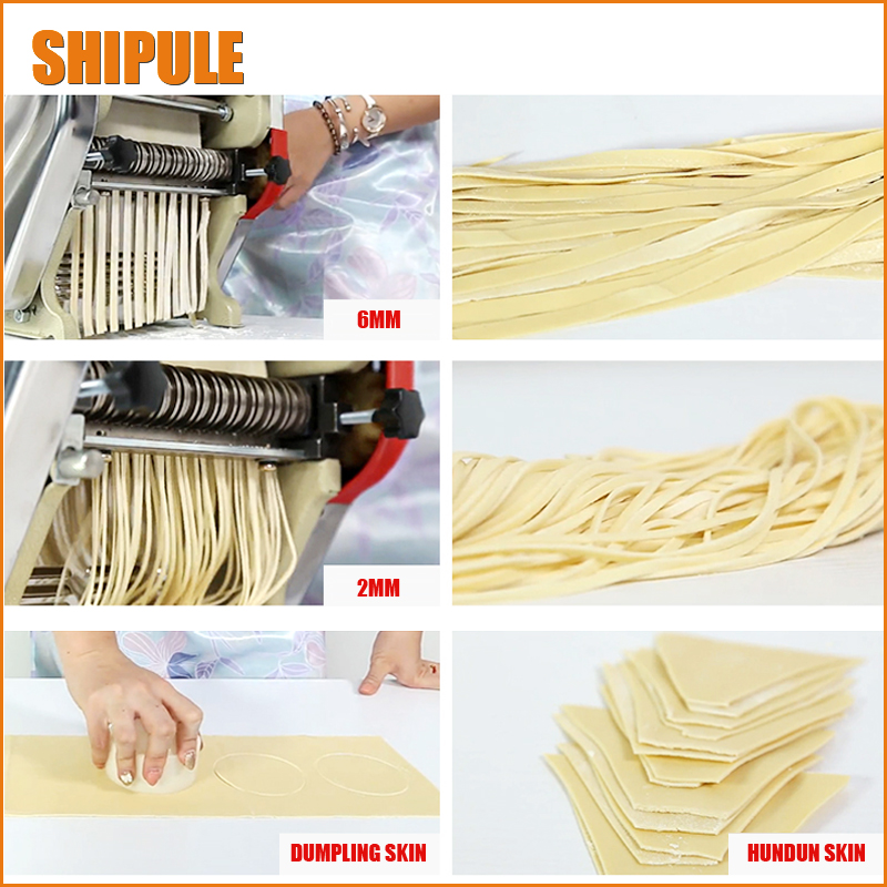 SHIPULE Household small electric stainless steel pasta machine rolling dumpling wonton noodle press mechanism of machine jiqi stainless steel household rolling dough pressing maker manual noddle pasta machine hand dumpling wrappers wonton machine