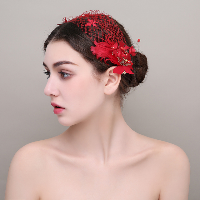 Red Feather Flower Girls Prom Headbands Wedding Party Princess Hairpins  Youth Hairpieces Brides Hair Ornaments Headdress Gift f3d3c38f603