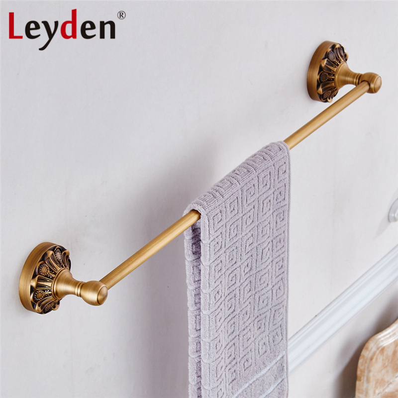 Leyden Vintage Towel Rack Copper Single Towel Bar Wall Mounted Antique Brass/ Black Towel Rail Retro Holder Bathroom Accessories high quality towel racks brass 50 60cm antique towel rail copper wall mounted towel bar bathroom f503