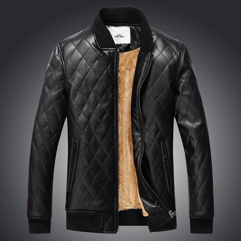 Brieuces Hot Sale 2018 Brand Faux Casual Man Jackets Men Leather Jacket Male Coats Winter Motorcycle Warm Velvet Outerwear