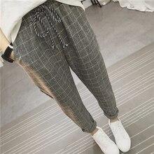 Calça feminina folgada, calça harém xadrez casual de linho algodão quadril primavera calças literárias sarouel femme 2020