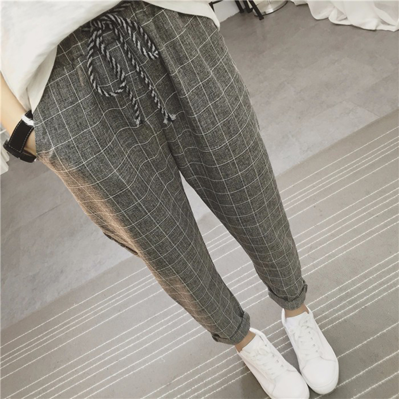 Women's Pants 2019 New Summer Casual Loose Harem Pants Cotton Linen Plaid Capris Grid Spring Literary Trousers Sarouel Femme