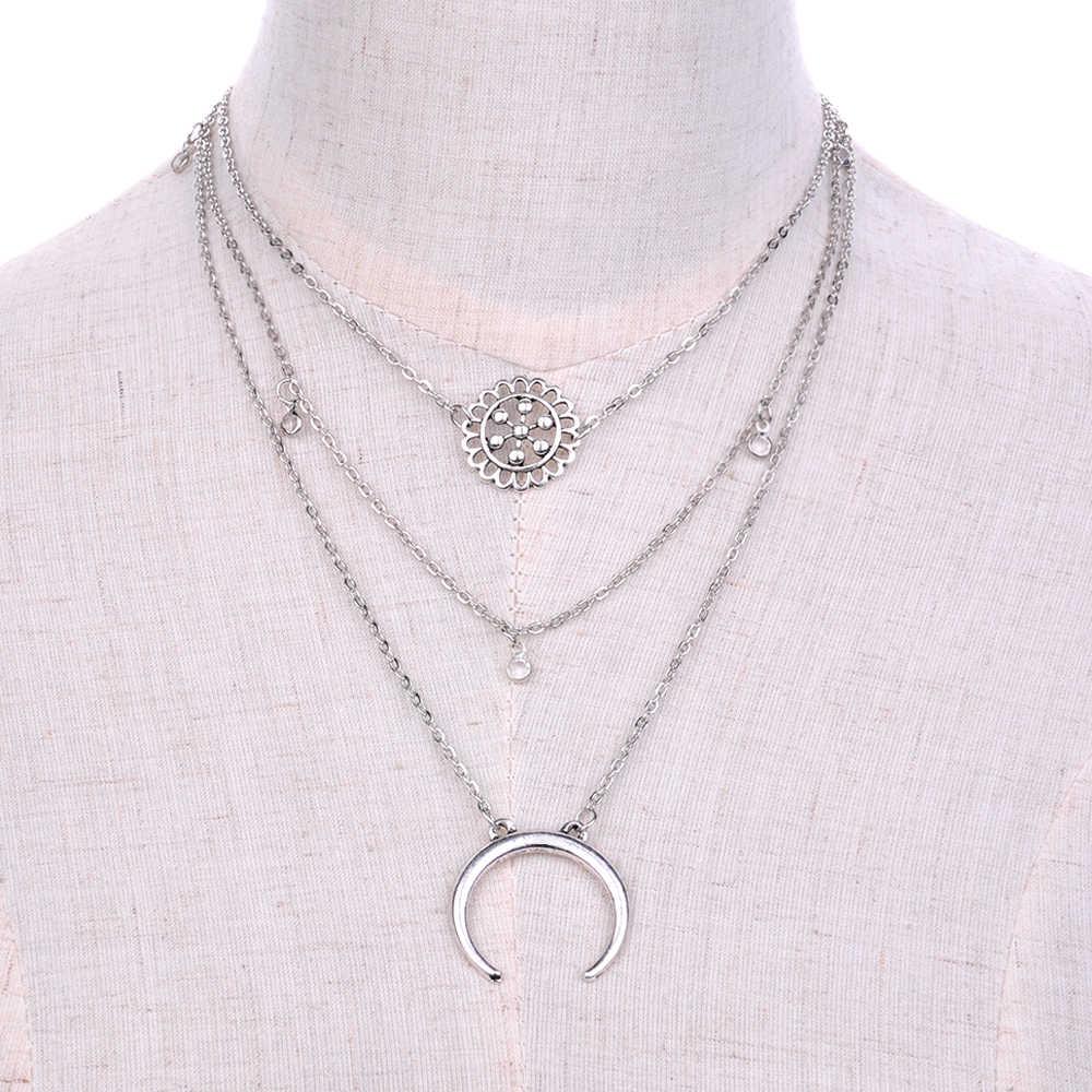 48a0e62b28c3 2019 Bohemia aleación Luna colgante 3 capas cadena collar mujer grueso  declaración gargantilla collares mujer joyería