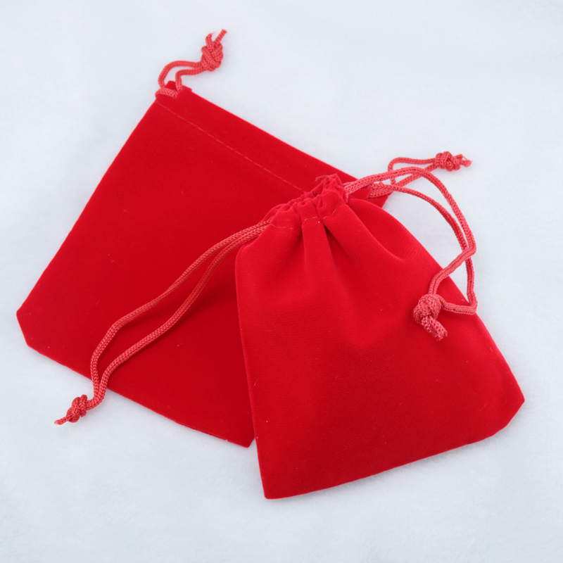 Free Shipping 20pcs/Lot 7x9cm Small Red Wedding Velvet Bag Cute Jewelry Pouch Candy Charms Drawstring Gift Bag