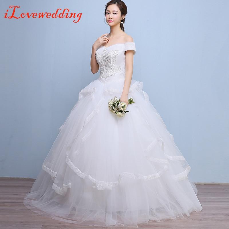 iLoveWedding White Ball Gown Big Wedding Dresses Tulle Ruffles ...