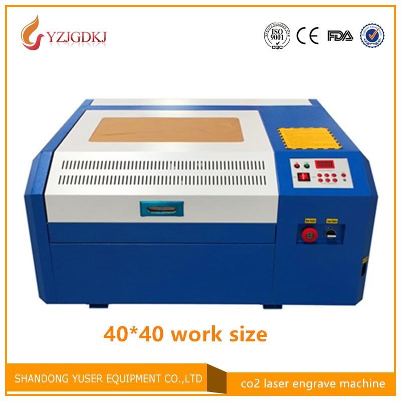 Livraison gratuite 50 w laser machine de découpe 4040 co2 laser machine de gravure bricolage mini coupe contreplaqué coreldrew support 40*40 cm