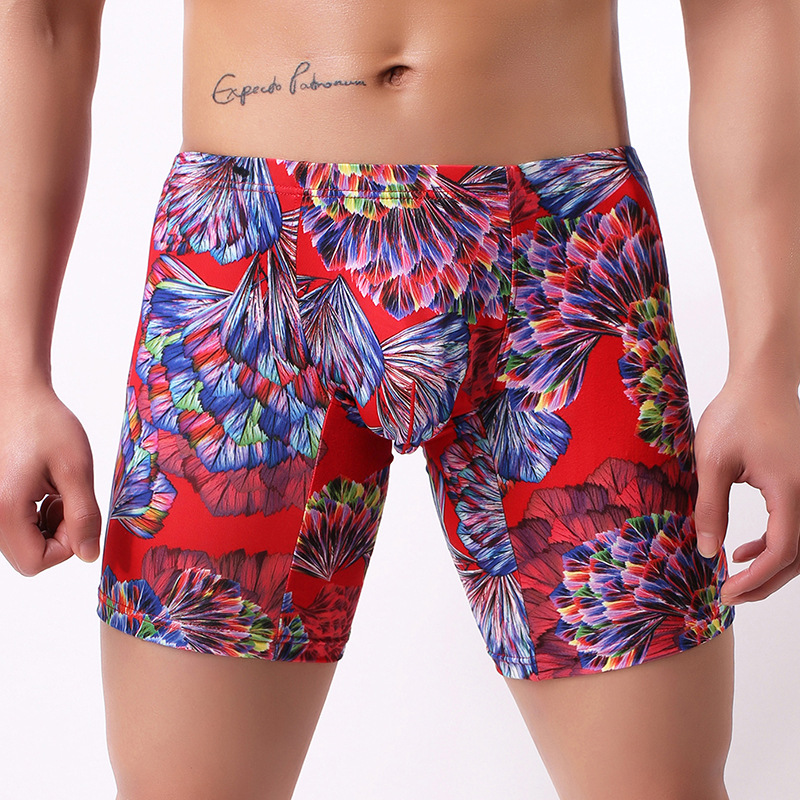 Sexy Men Plus Size Fantasy Printed Ice Silk Smooth Solid U Convex Pouch Half-length Boxers Long Leg Underpants Boxer Gay Wear 13