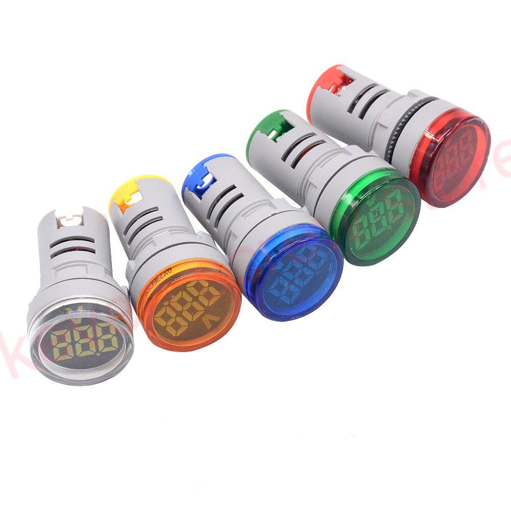 22mm LED Digital Display Gauge Volt Voltage Meter Indicator Signal Lamp Voltmeter Lights Tester Combo Measuring Range 24-500V AC