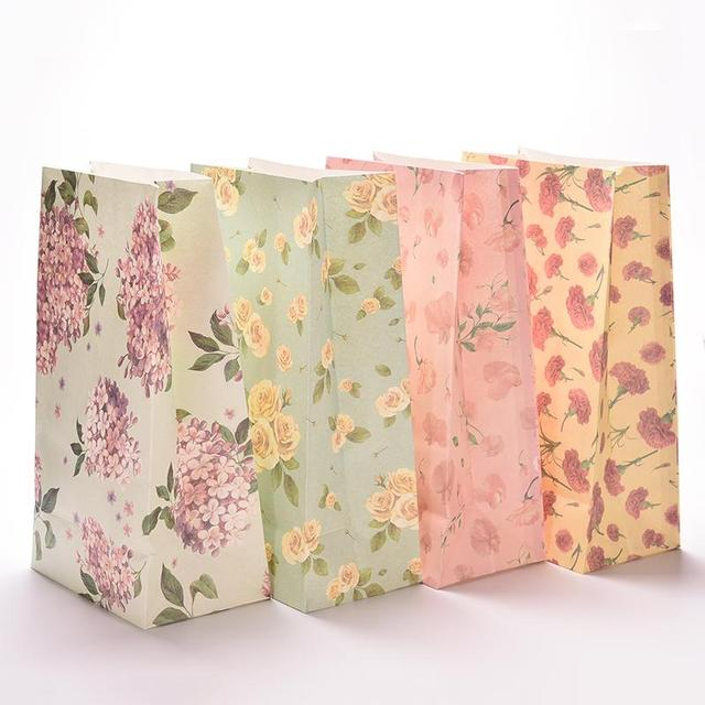 3pcs Lot Flower Printing Paper Bags Gift Party Lolly Favour Wedding Packaging Storage