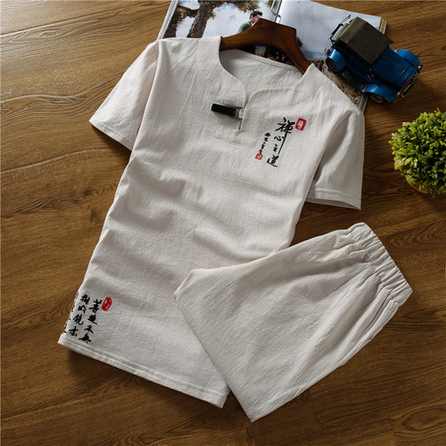 Loldeal Chinese Summer Linen Embroidery Set Casual Mens Cotton Short Sleeve T-Shirt + Shorts