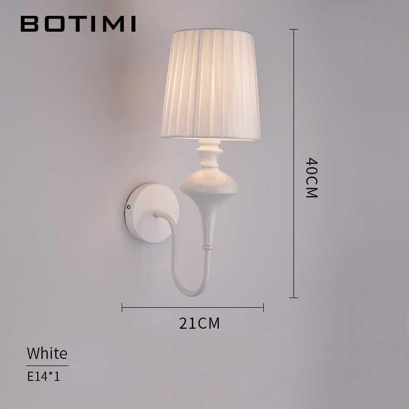 Botimi современные настенные лампы для отелей ткань настенный абажур канделябр для коридора балкон Спальня белый черный прикроватные лампы