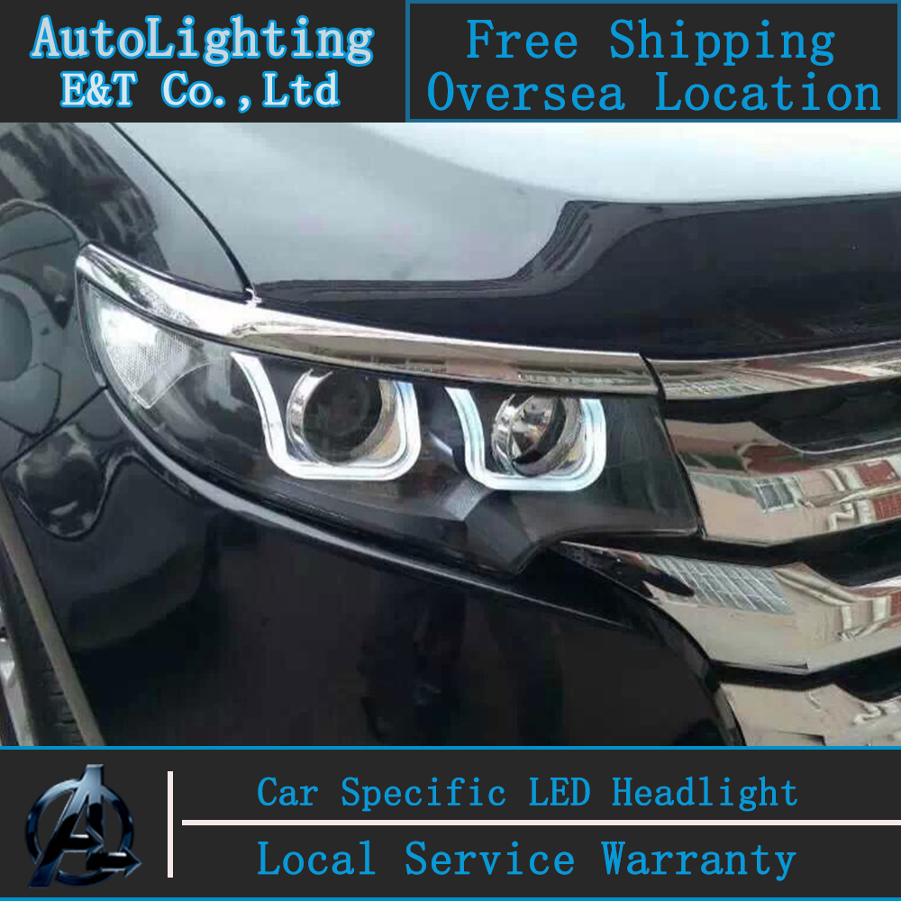 Car Styling Head Lamp for Ford Edge headlight assembly 13-14 edge led headlight drl projector headlight H7 with hid kit 2 pcs. new arrival canbus p6 car led head lamp conversion kit bulb 4500lm 2 9000lm led headlight super bright 45w 2 90w car styling
