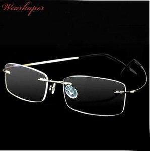 GUARDA-ROUPA liga de Titânio Óculos Sem Aro frame ótico óculos óculos de leitura Leitores óculos de aço inoxidável das mulheres