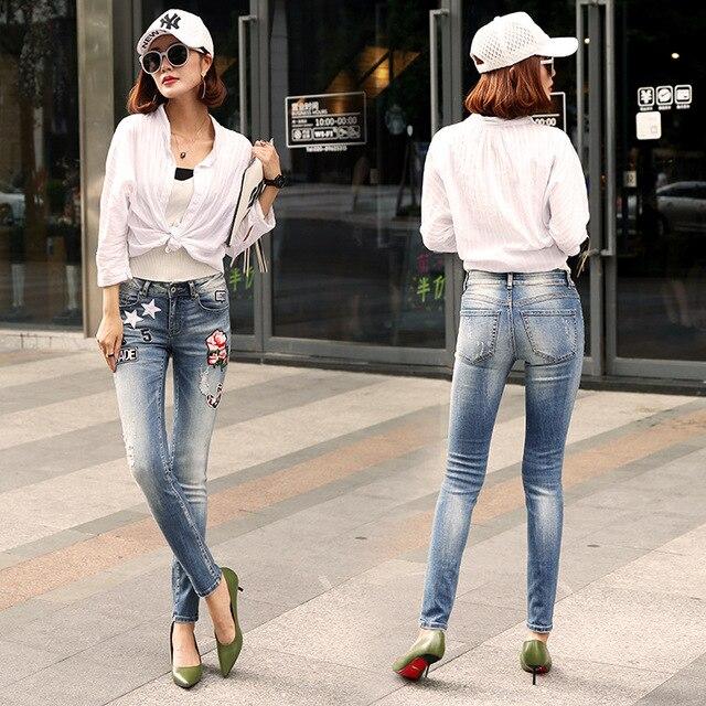 Мода Вышитые Сексуальный Хип Street Style Женщины Жан Новый Slim Fit Denim Брюки Карандаш Стильный Патч Отверстие Рваные Джинсы Женщина