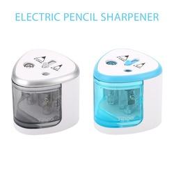 Two Holes Power Driven Pencil Sharpener Electric Pencil Sharpener Automatic Pencil Sharpener Student Clean Children Durable