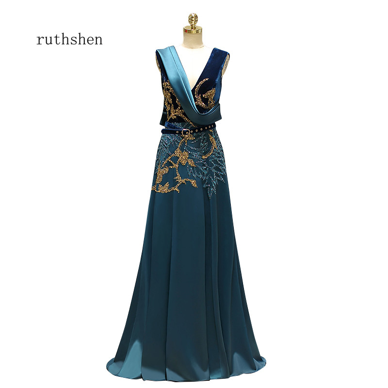 ruthshen 2018 Delicate Beading   Prom     Dresses   V-Neck Formal Party   Dress   Vestido De Formatura Women Special Occasion Gowns