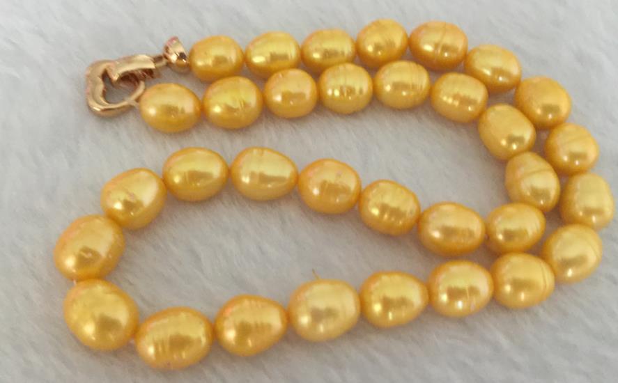 Huge11-13mm mer du sud baroque or perle collier