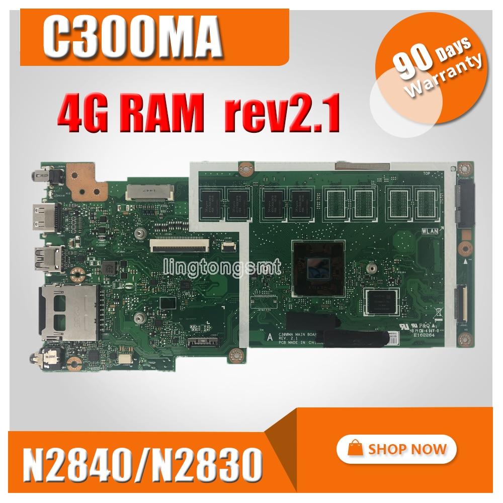 C300MA motherboard For ASUS C300MA C300M mainboard work 100 Test original EMMC16G N2830 N2840 CPU 4G