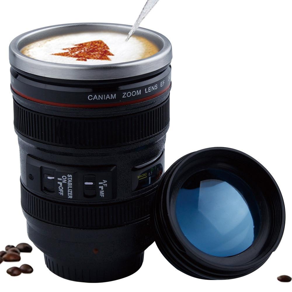 Taza de Lente de cámara de acero inoxidable de 400 ml con tapa nuevas fantásticas tazas de café taza de té regalos novedosos tazas de bebida Caneca Lente