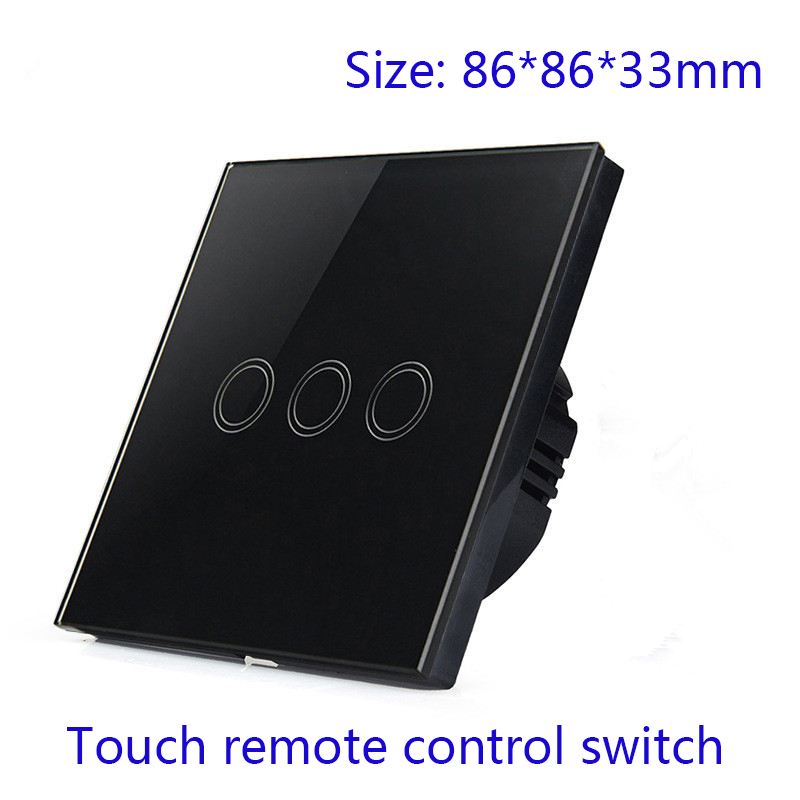 EU Standard Touch Light Switch Crystal Touch Glass Panel Electrical Wall Switches Waterproof Black Color 4430 2016 eu standard 2gang2way black crystal glass panel touch switch screen wall light switches smart home automation ac110v 250v