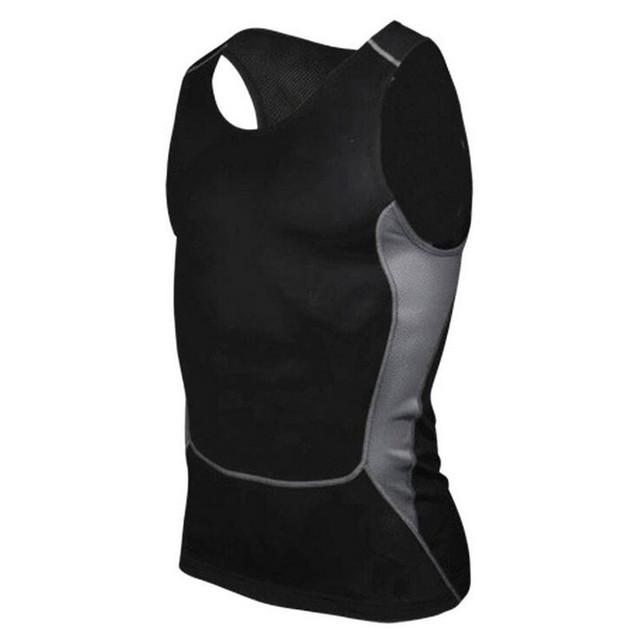 Mens Calças de Compressão Tops Secagem rápida Slim Fit Camisola Masculina Sexy Tops Sólidos Black White Mangas Vest Homme