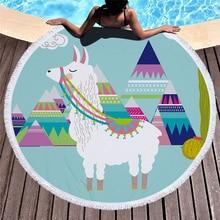 купить Alpaca Print Large Round Beach Towel Large Round Microfiber Tassel Yoga Mat Bath Towel Picnic Blanket Bikini Cover Up Home Deco дешево