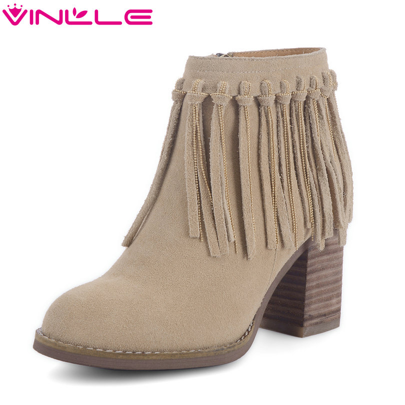 VINLLE 2018 Woman Boots Ankle Boots Square High Heel Genuine leather Women Shoes Fringe Black Ladies Motorcycle Boots Size 34-43 2017 pink shoes woman pu leather square high heel ankle boots zipper women winter shoes ladies motorcycle boots size 33 43