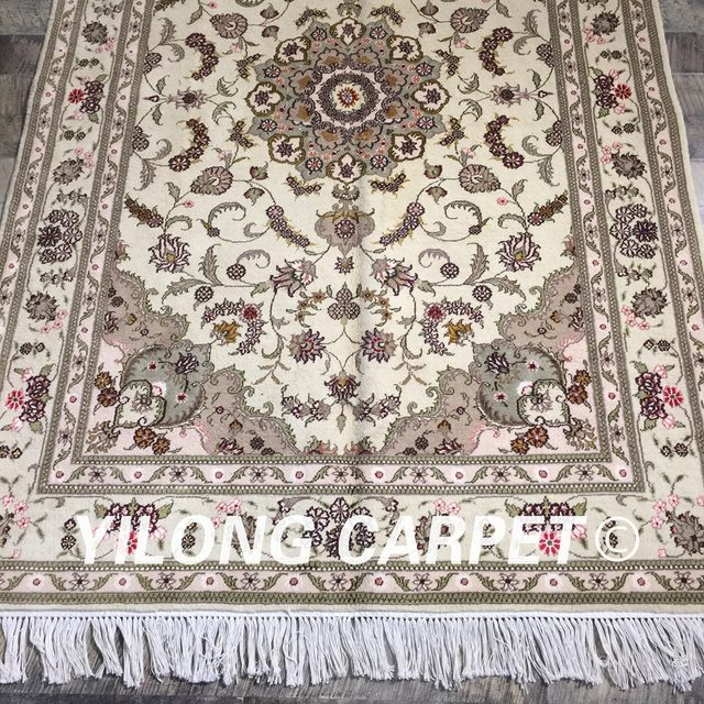 Yilong 4x6 Green Tradition Wool Silk Rug Thin Soft Exquisite Oriental Turkish Carpet WY2117S4x6