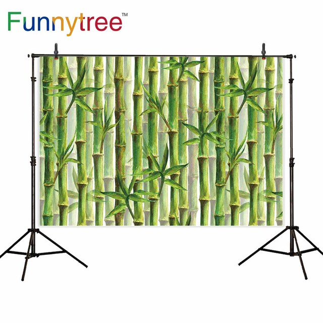 Funnytree Photography Backdrop Bamboo Forest Panda Spring Green