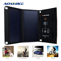 Aoshike Portable Foldable 15W Solar Charger Powerport Sun Power Outdoor 5V Portable Fast Charging Board For