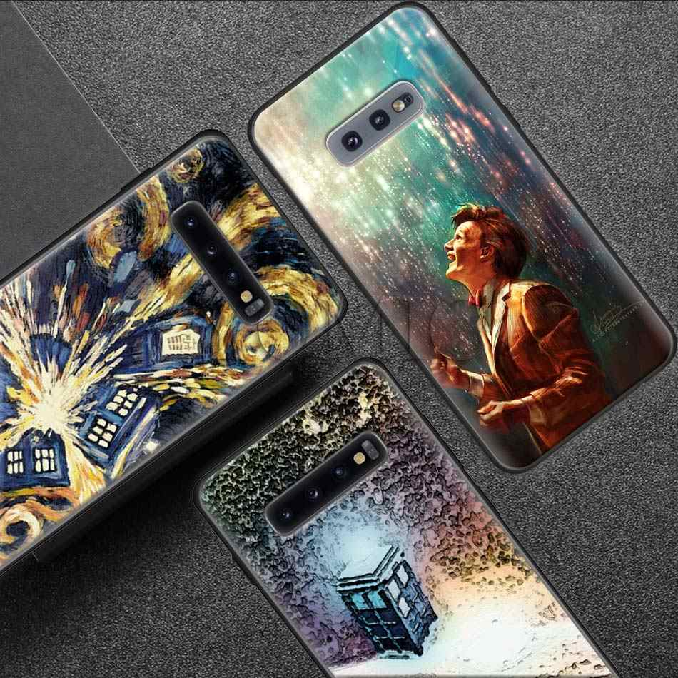 Doctor Who Tardis Police Box Black Soft Case for Samsung Galaxy S10 5G S9 S8 Plus + S10e S7 A50 A70 Note 9 8 Silicone Case Coque