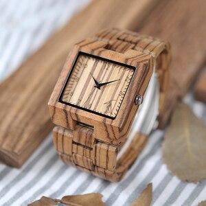 Image 5 - BOBO VOGEL Uhren Bambus Holz Männer Uhren Top Luxus Marke Rechteck Design Holz Band Uhr für männer