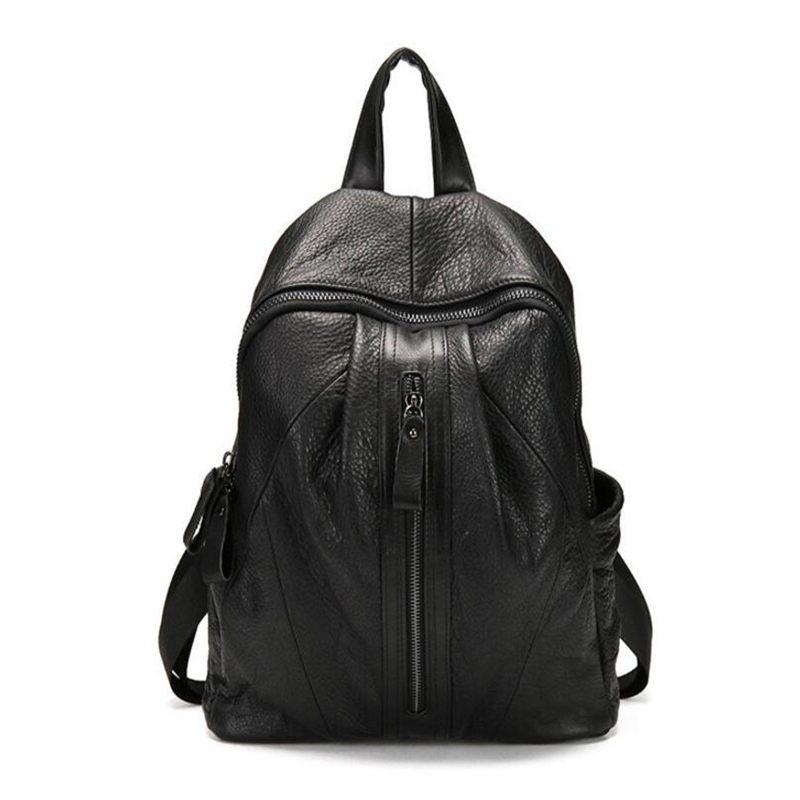 2017 New Style Genuine Leather Women Double Shoulder Bags Punk Black Cow Leather Casual Travel Backpack Casual Student Backpack2017 New Style Genuine Leather Women Double Shoulder Bags Punk Black Cow Leather Casual Travel Backpack Casual Student Backpack