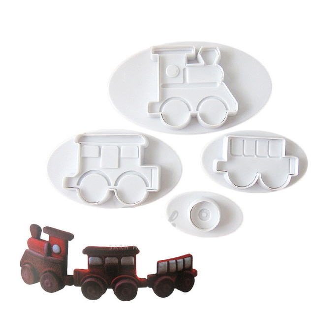 4pcs set little transporation train plastic cookie cutters baking