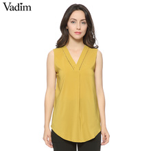 women sexy V-neck sleeveless chiffon long blouse carve hem ladies casual solid shirts summer tops blusa sin mangas WT254