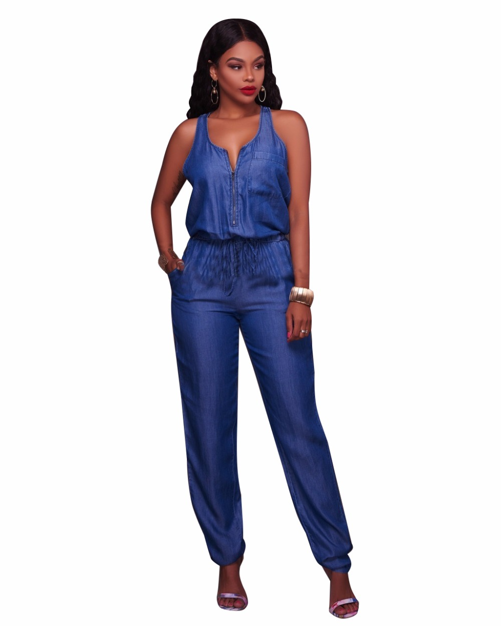 bfd910190d26 2019 Office Rompers Women Jumpsuit Summer vest Tied Waist Sexy Party Playsuit  Female Overalls Pockets leisure